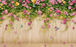photo wall prints Promo Codes - Custom 3d Photo Wall paper Original pink rose rose flower wooden TV background wall Wallpaper Mural Painting For Living Room