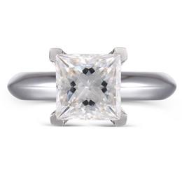 Transgems 1.3ct 6mm Princesa corte Lab Grown Moissanite Anel de Noivado de Diamante Casamento 14 K 585 Ouro Branco Para As Mulheres S923 cheap 14k 585 gold ring de Fornecedores de anel de ouro 14k 585