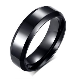 Wholesale middle finger rings - Titanium Steel Black Ring Men Fashion Jewelry High Quality Stainless Steel Finger Rings Korea Trendy Accessories R-143