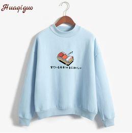 Wholesale Fleece Turtleneck Women - Women Hoodies 2017 Autumn Winter Sweatshirts Cartoon Kawaii Sushi Japanese Print Fleece Loose Moletom Feminino Harajuku Pullover