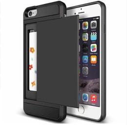 carteira dupla Desconto Caixa de Cartão De Carteira de Escorregão resistente Caso de Armadura de Armazenamento Para o Iphone 7 8 6 s Plus X XR XS MAX Caso Dual Layer TPU