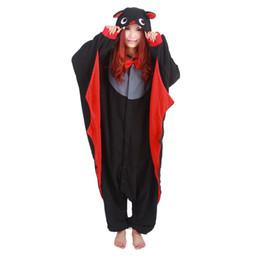 Sudaderas pijamas adulto online-Black Bat Unisex Hoodie Pijamas Para Mujeres Adultos Invierno Otoño Pijama Cosplay Animal General Inicio ropa de dormir Anime Pija