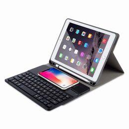 cobre mini silicone comprimido Desconto Caso carregador de teclado sem fio bluetooth teclado pu estojo de couro com suporte da pena para a apple ipad pro 9.7 10.5 air 1 2
