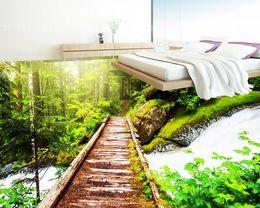 3D ПВХ пол обои для ванной комнаты лес сад сад деревянный эстакада 3D трехмерный пол рисовать от Поставщики полосатые обои металлические