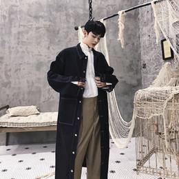 2019 jaquetas denim trench coat Homens Longo Denim Trench Coat High Street Hip Hop Moda Casual Solto Cowboy Cardigan Jaqueta Masculina Jean Casaco Blusão jaquetas denim trench coat barato