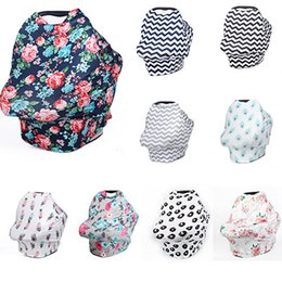 Wholesale baby car covers - 5 in 1 nursing cover carseat canopy baby car seat cover multiuse stretchy nursing scarf breastfeeding cover for boys girls