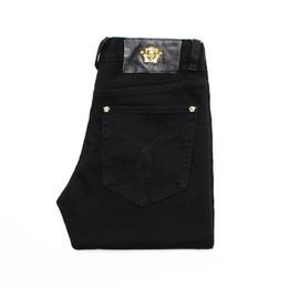 Микро-качество онлайн-высокое качество мужчины черный дизайнер джинсы тонкий ноги микро-эластичные джинсы мужской 103