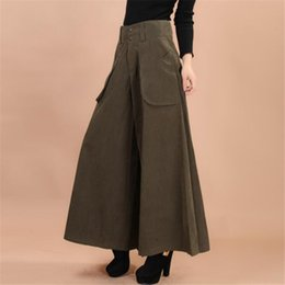 c11d1458508 Plus size summer Women Wide Leg Dress Pants vintage Female Casual solid Skirt  Trousers Loose 50s Capris Culottes Pocket ZY3365 S18101605