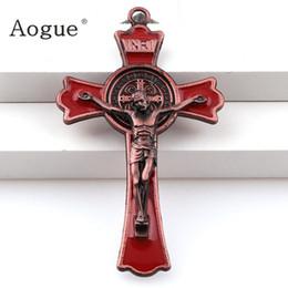 Argentina Esmalte de colores Jesus Crucifix Doble Draw cruces encantos INRI Saint Benedict Crucifix colgantes de colgantes Collar Suministro