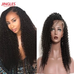 Wholesale hair wigs nature - 100% Remy Human hair lace frontal wigs Kinky Curly wave Brazilian Unprocessed Virgin Human Hair Wigs Bleached konts Nature Looking wholesale