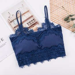 7022080018 Women Beautiful Back Cropped Top Wireless Lace Tube Tops Camisoles  Underwear Lingerie