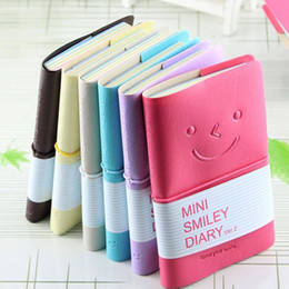 Wholesale pink accounting - Cute Colorful Mini Smile Leather Notebook 7.5*.12.5 CM Wire Bound Fashion Diary for Business and Students ZA5796