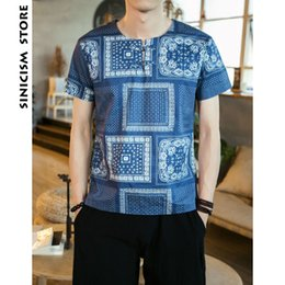 Wholesale ethnic print shirt - Sinicism Store Man Ethnic Style Print T shirt Mens Summer Cotton Linen Short Sleeve Tshirt Male Chinese Style Casual T-shirts
