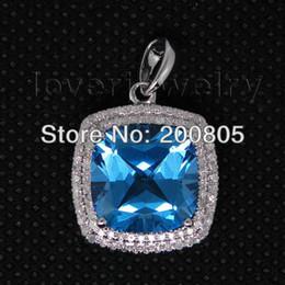 Старинные подушки 12 мм 14Kt белого золота Алмаз темно-синий топаз кулон 2T018 cheap blue diamond vintage pendant от Поставщики синий бриллиант винтажный кулон