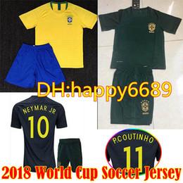 Wholesale Brazil Football Kits - 2018 world cup Brazil kit home Soccer Jersey Brasil #10 NEYMAR JR soccer shirt #11 COUTINHO #9 G.JESUS Brazil home yellow Football uniforms