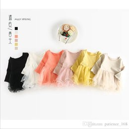 Wholesale Lace Splice Dress - IN stock 6 color INS 2018 European and American spring NEW arrival Girls Kids solid Color Splicing yarn cotton skirt kids girl pricess dress