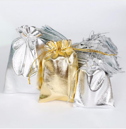 metallic cloth Promo Codes - Metallic Foil Cloth Organza Bags Wedding Decoration Favour Gifts Shinning Candy Packaging Pouches GA22