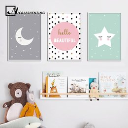 Wholesale Art Painting Quotes - Cartoon Moon Star Nursery Quote Wall Art Canvas Poster Prints Kawaii Nordic Painting Picture Baby Bedrooom Decoration Home Decor