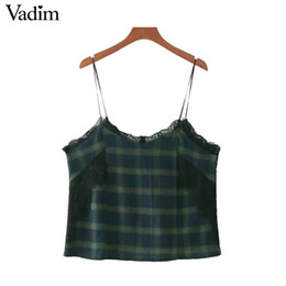 Wholesale Spaghetti Strap Shirts Wholesale - Vadim sexy lace patchwork plaid tops spaghetti strap camis checkered sleeveless shirts vintage ladies casual vest blusas WT505