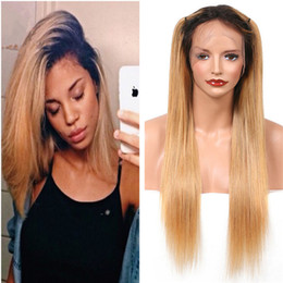 Wholesale Two Tone Blonde Hairstyles - Honey Blonde Human Hair Full Lace Wig Two Tone 1b 27 Blonde Front Lace Wig Brazilian Virgin Hair Wavy Glueless Wigs