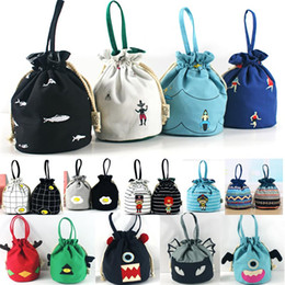 Wholesale Drawstring Coin Purse - Large Party Gifts Wrap Bags With Handles Storage Pouch Bag For Coin Key Canvas Drawstring Packaging Pouch Ladies Printed Purse TY7-344