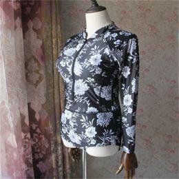 Nuevo traje de baño de gran tamaño para mujer online-Traje de baño sexy estampado negro floral de una pieza traje de baño manga larga más cremallera traje de baño nuevas mujeres traje de baño de gran tamaño 35xx dd