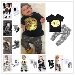 Wholesale baby boys tshirts - 2018 Boys Girls Baby Childrens Clothing Outfits Printed Kids Clothes Sets Cute Printed tshirts Harem Pants Leggings Set Clothing Suits