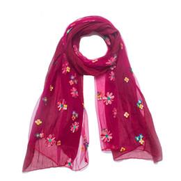 pañuelos bordados de seda Rebajas Las mujeres bufandas bordadas del bordado de seda de la flor del mantón delgadas bufandas de protección solar