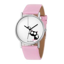 Relojes de diseño de gato online-2017 moda unisex para hombre mujer encantadora gato y araña reloj de cuero al por mayor nuevas damas casuales diseño simple relojes de cuarzo