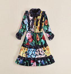 Vestiti increspati online-2018 Spring Runway Dress Stampa Cascading Ruffle Luxious Long Sleeves Vestito da donna A line Vestidos De Festa 121213