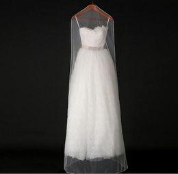 Wholesale Transparent Bridal Gown - 160cm 180cm Transparent Wedding Dress Dust Cover Soft Tulle Garment Bags Bridal Gown Scratch Resistant Net Yarn Bag 20pcs