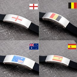 Discount football flags - silicon bracelet charm gifts football game National Flag Bracelet stainless bracelet laser flag World Cup flag Bracelets fantastic