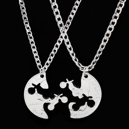 Wholesale wholesale guys jewelry - 2pcs set Couples Necklaces MOTOCROSS GUYS Jewelry Interlocking Set BFF Creative Necklace Lovers Couples Gift