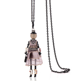 Wholesale Yarn Dolls - new arrival handmade necklaces for women 2018 cute yarn cloth dress doll necklace jewelry stores big chain long choker pendants