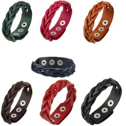 Wholesale jewelry fasteners wholesale - Fashion Braided PU Leather Punk Buckle Bracelet Jewelry Snap Fastener Bangle