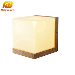 Wholesale Modern Style Decorating - [MingBen] Wall Lamp Night Light Wood+Glass Vintage Modern Style E27 Socket For Bed Room Foyer Decorate the walls AC 90-260V