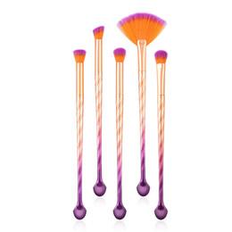 set de maquillaje de arco iris Rebajas Alta calidad 5pcs cepillo de maquillaje de concha sombra de ojos ceja maquillaje pinceles conjunto profesional de colores cepillo de ventilador del arco iris