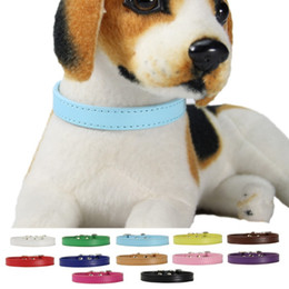 Wholesale Protecting Animals - Multi Colors Pet Necklace PU Leather Puppy Chaplet For Protecting Training Walking Dog Collars High Quality 2 4cl Y