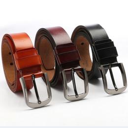 Wholesale Vintage Leather Waist Belt - New Arrival Genuine Leather Belt Simple Vintage Men Strap With Electroplating Needle Buckle Waist Belts Hot Sale 19gf B