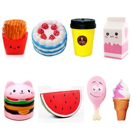 Wholesale Wholesale French Fries - Squishy Collection 8pcs Slow Rising Bread Scented Squishies Glitter Foam Cute Cartoon Kawaii French Fries Coffee Hamburger Squishy Toys