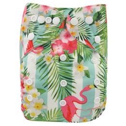 diaper cover panties wholesale UK - Ohbabyka Baby Nappies Flamingo Infant Panties Pocket Cloth Diaper Reusable Diaper Cover Size Washable Newborn Baby