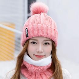 Вязаный шарф из кролика онлайн-B letters knitted Hat Women Brand High Quality Winter Women Ball Ski Rabbit Fur Hat PomPoms Hats knitted scarf