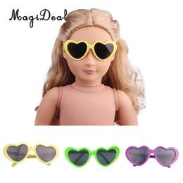 occhiali americani della ragazza Sconti Fashion 1Pair Eyewear Heart Shape Frames Occhiali da sole Occhiali da vista per 18 pollici American Girl Doll Accessory