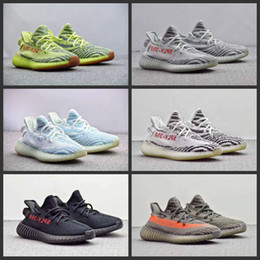 Wholesale Low Sole - Semi Frozen Yellow B37572 Gum Sole 350 v2 Beluga 2.0 B37571 Blue Tint SPLY 350 Zebra Black Red Running Shoes