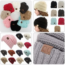 Wholesale Free Hot Mom - 2018 Hot sale Parents Kids CC Hats Baby Moms Winter Knit Hats Warm Hoods Skulls Hooded Hats Hoods