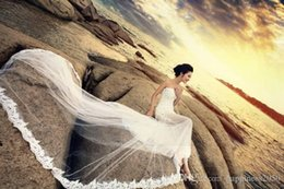 Wholesale Photography Training - Artistic White Tulle Strapless Applique Translucence Train Beach Wedding Dresses Bridal Gown Photography Dresses Photo Shoot Dresses W812002