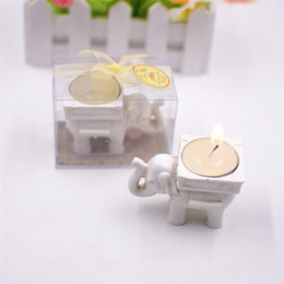 Wholesale tealight candle holders wedding - Retro Lucky Elephant Candles Holder Creative Tealight Candlestick Bridal Shower Wedding Party Favors Gift Banquet Table Decor 3 5yc YY