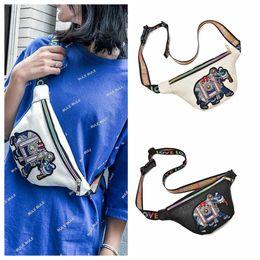 Wholesale leather elephant bag - Embroidery Elephant Fanny Packs Waist Bags Women PU Leather Mini Waist Pack Messenger Girls Coin Bag OOA5404