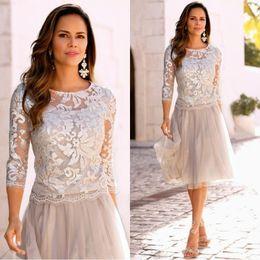 Wholesale Modest Knee Length Dresses - 2018 Modest Short Mother Of The Bride Dresses Lace Tulle Knee Length 3 4 Long Sleeves Mother Bride Dresses Short Prom Dresses BA4978