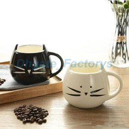 Wholesale Insert Ceramic - Creative White Black Cat Animal Milk Coffee Juice Breakfast Cup Ceramic Lovers Mug With Handle Drinkware Best Gift JF-779